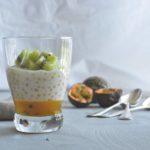 Perles du Japon, gelée de fruits de la passion et kiwi
