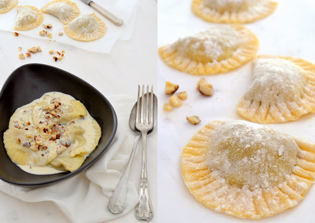Ravioles demi-lunes poires gorgonzola