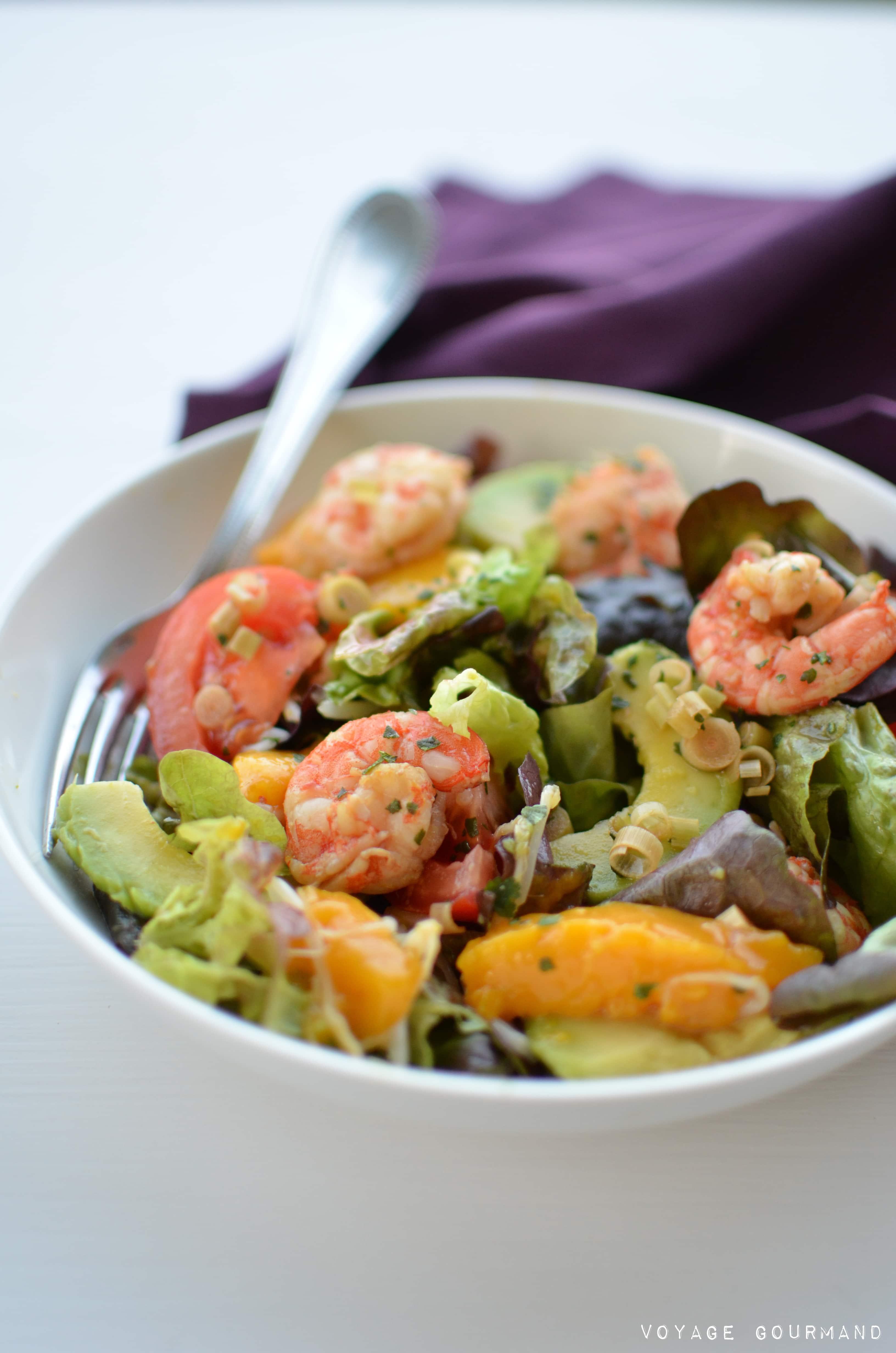Salade de crevettes, mangues et avocat à la citronnelle