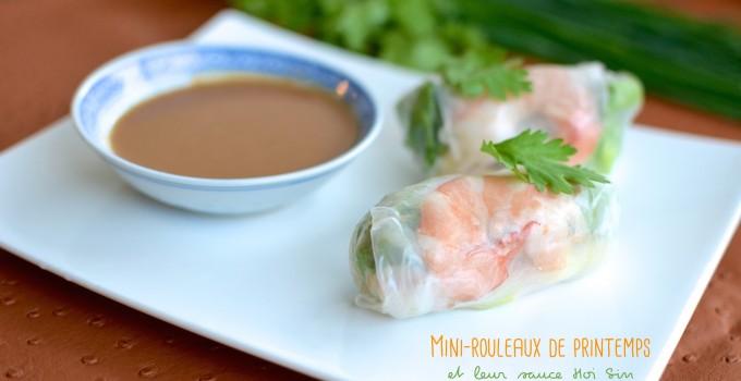 Mini-rouleaux de printemps, sauce Hoi Sin aux cacahuètes