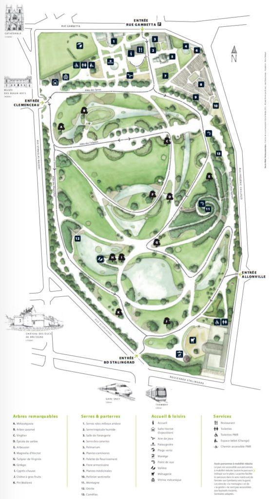 Plan Jardin des plantes Nantes