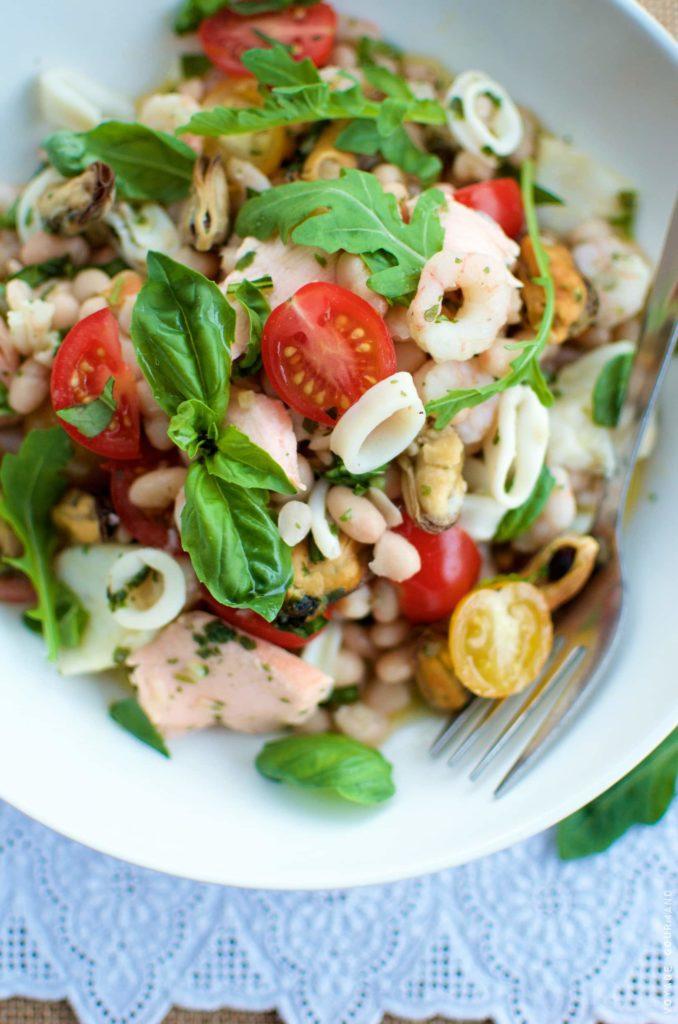 Salade de fruits de mer aux haricots blancs