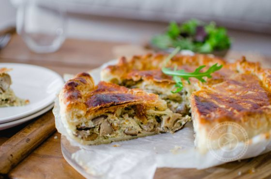 Tourte champignons - fromage abondance