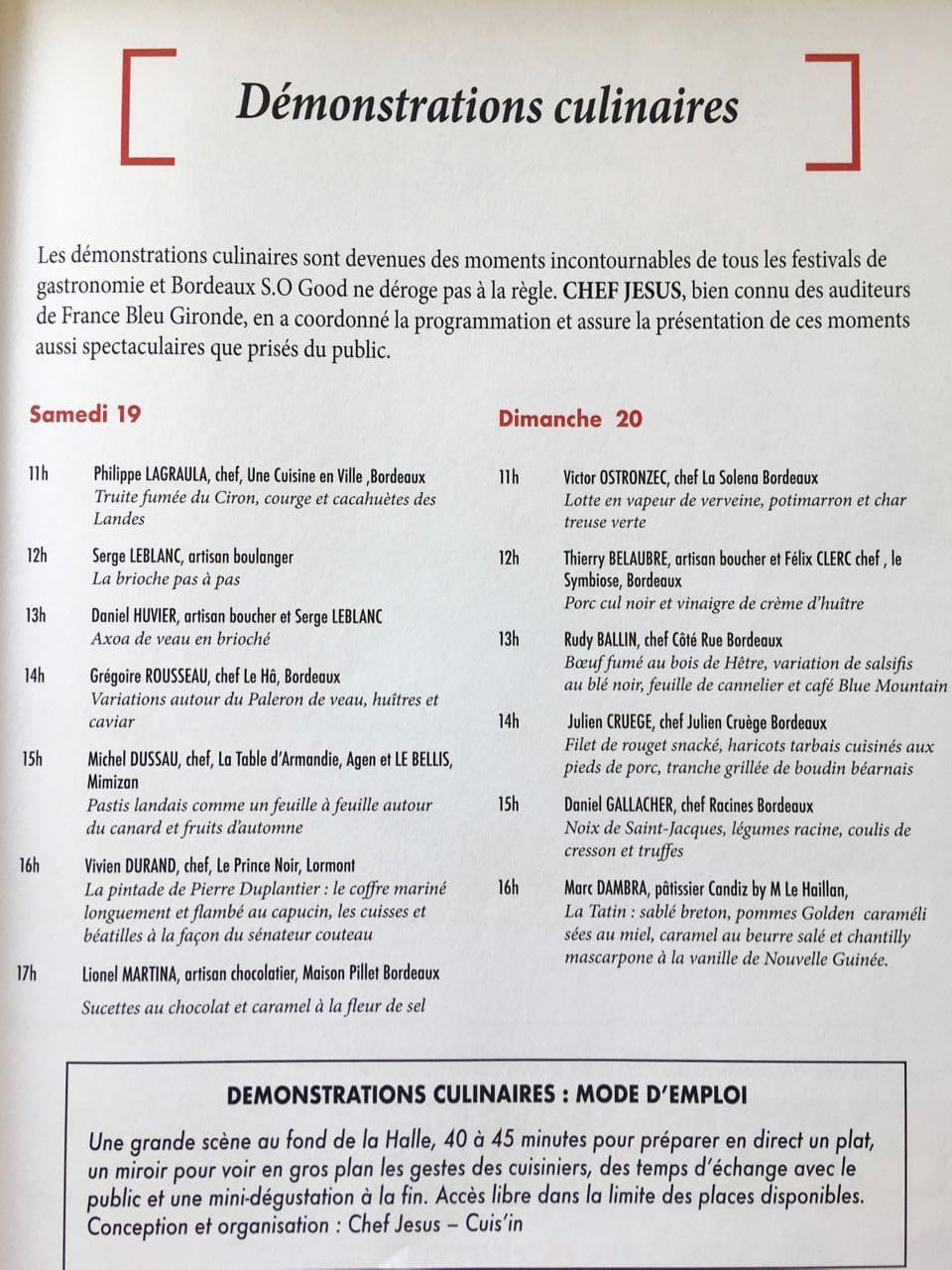 Programme Bordeaux S.o Good Démonstrations culinaires