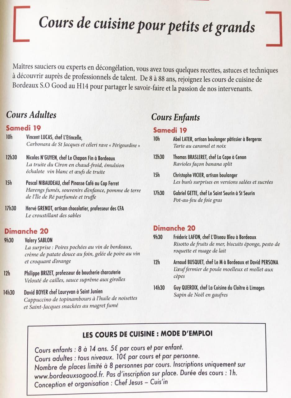 Programme Bordeaux S.o Good Cours de cuisine pour petits et grands