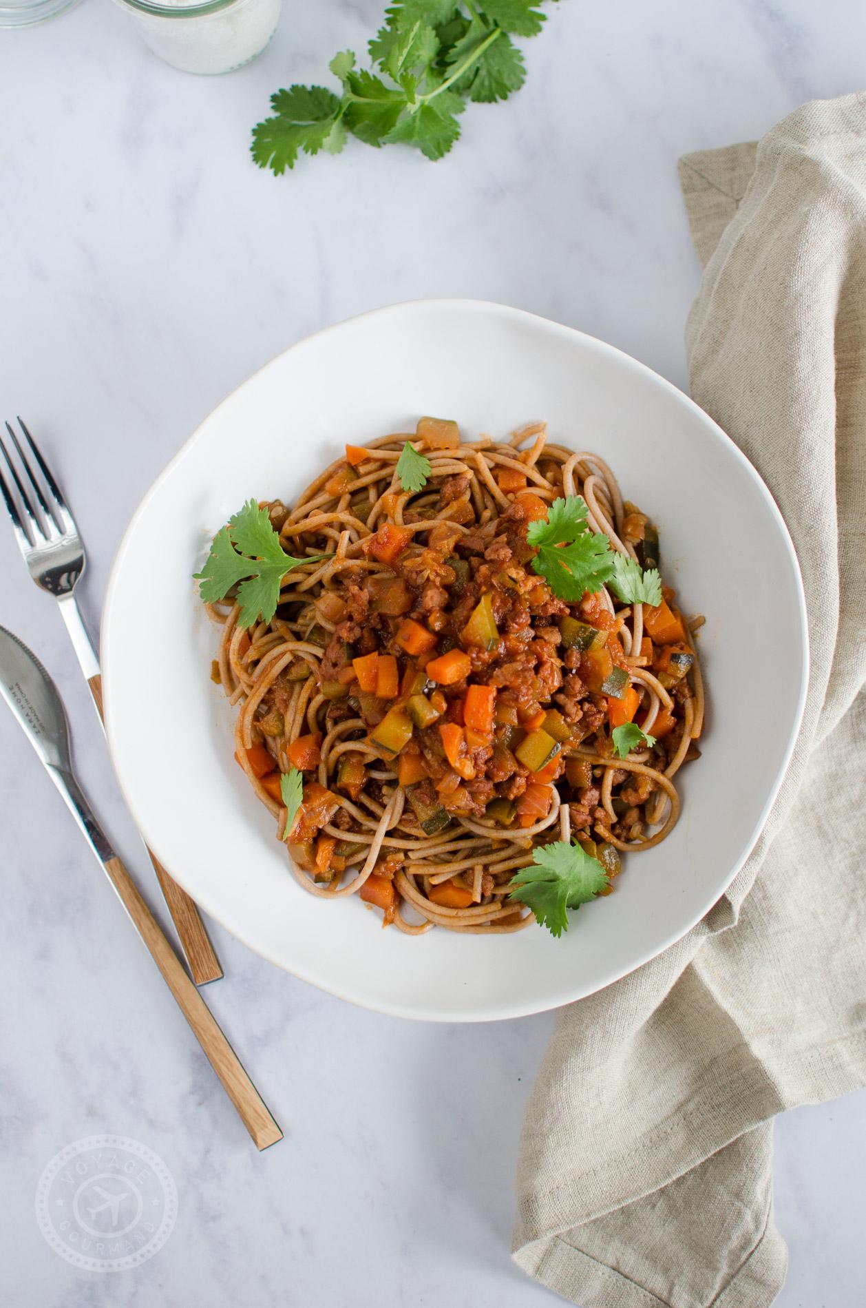 Spaghettis sauce bolognaise végétarienne